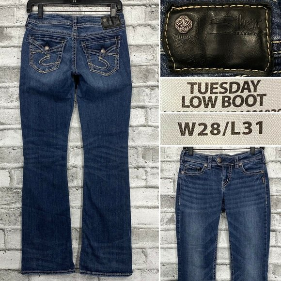 Silver Jeans Tuesday Low Boot W28 L31 Stretch